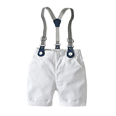 cheap Baby Boys' Bottoms-Baby Boys' Basic Solid Colored Overall & Jumpsuit White