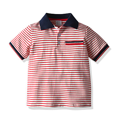 cheap Baby Boys' Tops-Baby Boys' Basic / Street chic Striped Short Sleeve Blouse Red