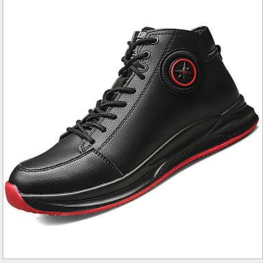 Men's Comfort Shoes PU Winter Sneakers Running Shoes Black