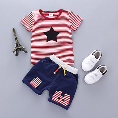 voordelige Kledingsets voor jongens-Kinderen Jongens Vintage School Alledaagse kleding Geometrisch Geborduurd Korte mouw Normaal Kledingset Rood