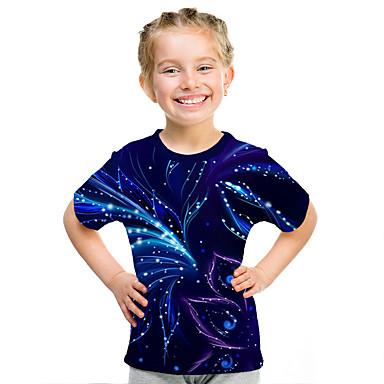 cheap Girls' Clothing-Kids Girls' Active Street chic 3D Print Short Sleeve Tee Purple