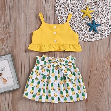 رخيصةأون احصل على المظهر الكاجوال-مجموعة ملابس بدون كم فاكهة أساسي للفتيات أطفال