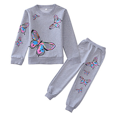cheap Baby & Kids-Kids Girls' Basic Geometric Long Sleeve Clothing Set Blushing Pink