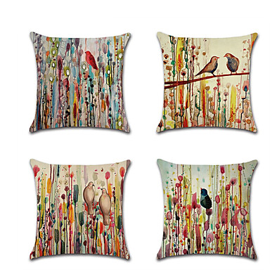 cheap Throw Pillow Covers-Set of 4 Linen Pillow Cover Abstract Flowers and Birds Rustic Chic & Modern Throw Pillow