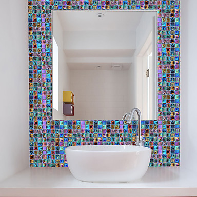 cheap Wall Stickers-Funlife 10*10cm*18pcs Mosaic Self-Adhesive Waterproof DIY Wall Art Home Kitchen Bedroom Bathroom kitchen Tile Sticker Wall Sticker
