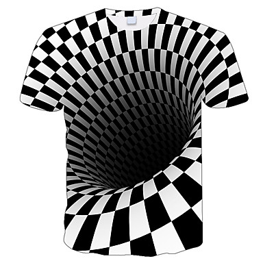 cheap Family Matching Outfits-3D Illusion Printing Men's T-shirt Funny T-shirt Black and White Graphics O-neck Pullover Tee 2019 Camiseta Masculina