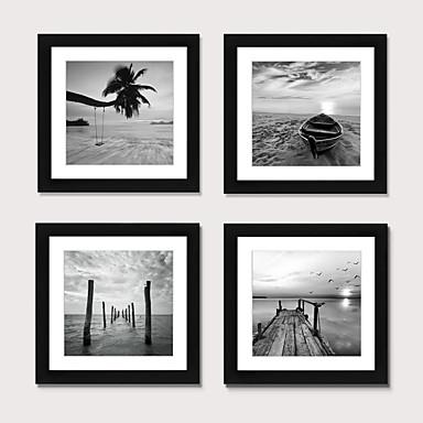 cheap Framed Arts-Framed Art Print Framed Set 4 - Black And Hite Beach Scenery PS Illustration Wall Art