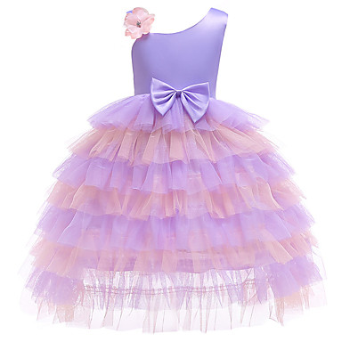 cheap Girls' Dresses-Kids Girls' Active Cute Floral Geometric Patchwork Lace Bow Sleeveless Knee-length Dress Purple