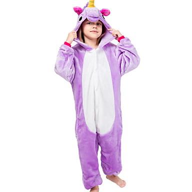 voordelige Meisjesondergoed & sokken-kinder pyjama's kigurumi eenhoorn vliegend paard pony dier jongens en meisjes festival vakantie kostuums flanel nachtkleding wit + paars