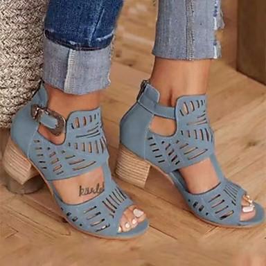 cheap Women's Sandals-Women's Sandals Chunky Heel Peep Toe PU Summer Red / Khaki / Blue