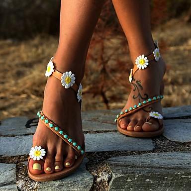저렴한 신발 & 가방-여성용 샌들 보호 플랫 샌들 여름 플랫 둥근 발가락 캐쥬얼 보호 일상 비치 비즈 / 꽃패턴 플로럴 PU 브라운