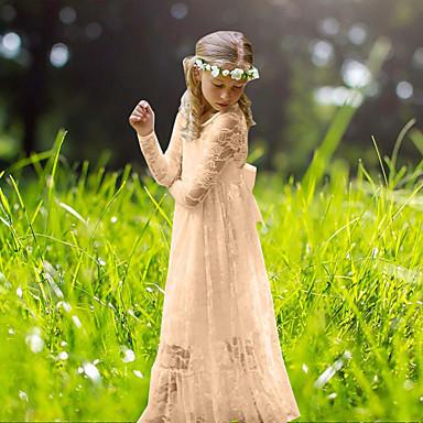 cheap Baby & Kids-Kids Girls' Sweet Boho Party White Jacquard Lace Flower Long Sleeve Maxi Dress White