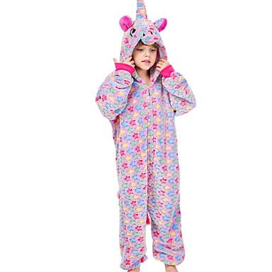 cheap Kids' Fashion-Kids Girls' Holiday Pajamas Costumes Festival Unicorn Cartoon Sleepwear Purple