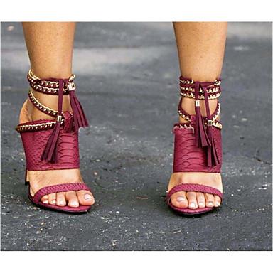 ราคาถูก 2020 Trends-สำหรับผู้หญิง รองเท้าแตะ รองเท้าส้นสูง รองเท้าแตะสีดำ ฤดูใบไม้ผลิ & ฤดูใบไม้ร่วง / ฤดูร้อน ส้น Stiletto Pointed Toe ทุกวัน PU สีดำ / แดง / สีเขียว