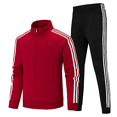 Men's 2-Piece Full Zip Tracksuit Sweatsuit Jogging Suit 2pcs Winter Stand Running Fitness Gym Workout Thermal / Warm Breathable Sportswear Plus Size Clothing Suit Long Sleeve Activewear High
