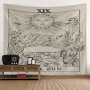 cheap Wall Tapestries-Tarot Divination Wall Tapestry Art Decor Blanket Curtain Picnic Tablecloth Hanging Home Bedroom Living Room Dorm Decoration Mysterious Bohemian Sketch Sun Flower