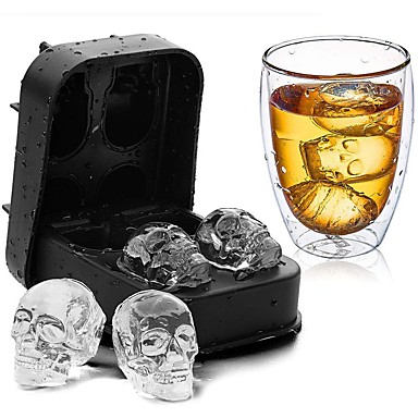cheap Baking & Pastry Tools-DIY Silicone Skull Ice Box Four Connected Silicone Mold 1pcs