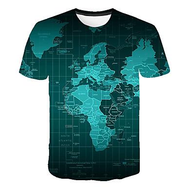 billige BarnekolleksjonUnder $8.99-Børn Drenge Basale Gade Farveblok 3D Regnbue Trykt mønster Kortærmet T-shirt Regnbue