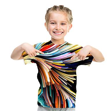رخيصةأون كنزات البنات-كنزة مطبوعة كم قصير هندسي / 3D / قوس قزح المكعبات السحرية للفتيات أطفال / طفل صغير