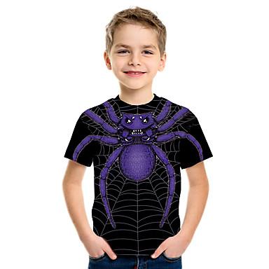 cheap Baby & Kids-Kids Boys' Basic Street chic Color Block 3D Animal Print Short Sleeve Tee Black