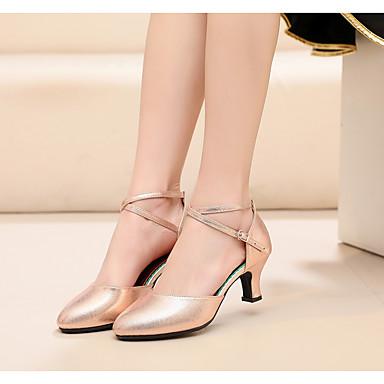 cheap Ballroom Shoes & Modern Dance Shoes-Women's Modern Shoes Synthetics Buckle Heel Buckle Cuban Heel Dance Shoes Red / khaki / Gold