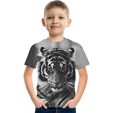 cheap Boys' Tops-Kids Boys' Basic Street chic Tiger Color Block 3D Animal Print Short Sleeve Tee Light gray