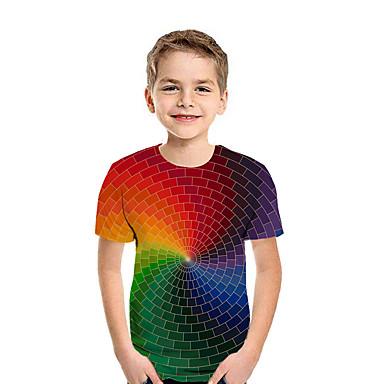 cheap Baby & Kids-Kids Boys' T shirt Tee Patchwork Geometric 3D Print Short Sleeve Active Streetwear Rainbow