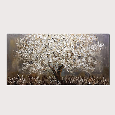 cheap Wall Art-Oil Painting Abstract Silver Tree 3D Hand Painted on Canvas Texture Palette Knife Paintings with Stretched Frame for Home Decor