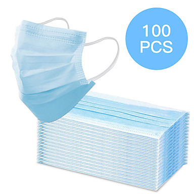 cheap Personal Protection-100 pcs Face Mask Waterproof Breathable Disposable Protection 3 Layers Nonwoven Fabric Melt Blown Fabric Filter Blue