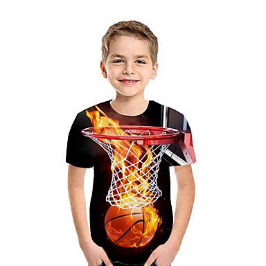 povoljno Beba & Djeca-Djeca Dječaci Aktivan Ulični šik Geometrijski oblici 3D Kolaž Print Kratkih rukava Majica s kratkim rukavima Duga