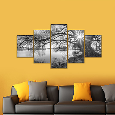 cheap Prints-AMJ Hot Selling Lakeside Scenery Puppet Painting Living Room Sofa Background Wall Decoration Canvas Picture Frameless Painting Core