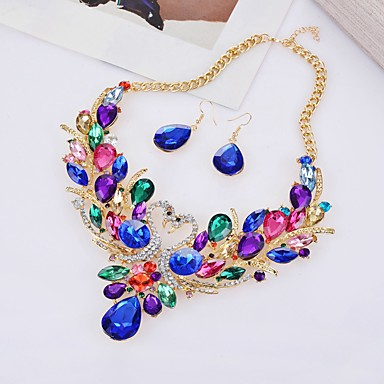 cheap Jewelry & Watches-Women's Jewelry Set Hollow Out Swan Statement Imitation Diamond Earrings Jewelry White / Red / Rainbow For Party Evening 1 set