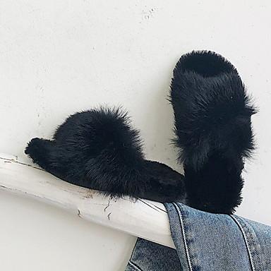 cheap Kids' Slippers-Girls' Comfort Faux Fur Slippers & Flip-Flops Little Kids(4-7ys) Black / Green / Brown Spring