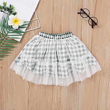 cheap Girls' Skirts-Toddler Girls' Chinoiserie Check Skirt White