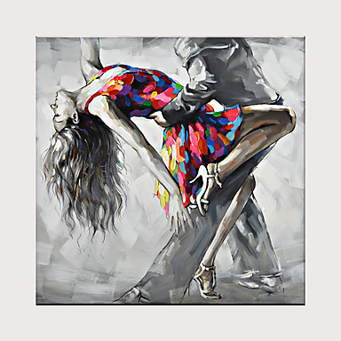 cheap Oversized Painting-Tango Dancing Oil Painting Naked Sexy Woman Ballet Dancer Body Nude Oil Painting On Canvas