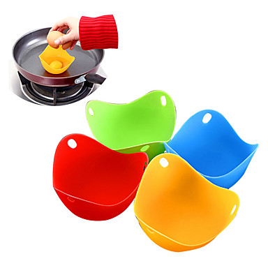 cheap Egg Tools-4pcs/set Silicone Egg Poacher Poaching Pods Egg Mold Bowl Rings Cooker Boiler Kitchen Cooking Accessories Pancake Maker