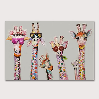cheap Oil Paintings-Oil Painting Paint Handmade Abstract Giraffe Animals Pop Art Wall Pictures For Home Decoration No Framed Rolled Without Frame