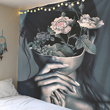 cheap Wall Tapestries-Pop Art Floral Women Tapestry Fashion Flower Plant Lady Polyester Rectangular Living Room Bedroom Home Decor Background Decoration Wall Hanging Tapestries
