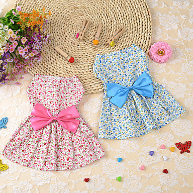 cheap Dog Clothes-Dog Dress Bowknot Flower Leisure Ethnic Causal Daily Dog Clothes Breathable Blue Pink Costume Cotton XS S M L XL