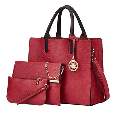 cheap Bag Sets-Women's Bags PU Leather / Polyester Bag Set 3 Pcs Purse Set Solid Color for Daily / Office & Career Black / Red / Blushing Pink / Brown / Bag Sets / Fall & Winter