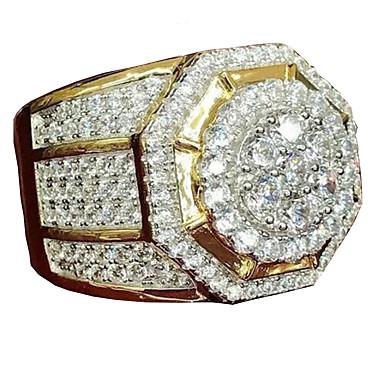 tanie Pierścionki męskie-Męskie Pierścień Belle Ring Cyrkonia 1 szt. Żółty Pozłacany Stop Nieregularny Duże Luksusowy Impreza / Wieczór Prezent Biżuteria Geometryczny Zdatny do noszenia