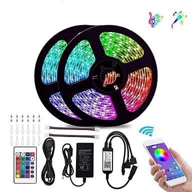 رخيصةأون وصل حديثاً-أضواء شريط LED بلوتوث 5050 10 م (2 × 5 م) 300 المصابيح RGB للهواتف الذكية التي تسيطر عليها RGB للمنزل&أمبير ؛ الديكور ampoutdoor 12v 6a محول
