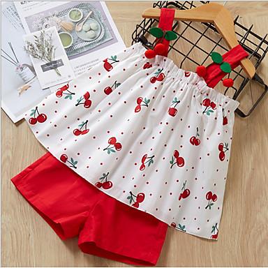povoljno Beba & Djeca-Djeca Djevojčice Osnovni Geometrijski oblici Bez rukávů Komplet odjeće Red