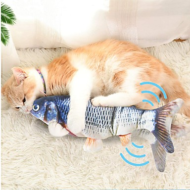 cheap Pet Supplies-Chew Toy Catnip Plush Toy Squeaking Toy Cat Pet Toy 1pc Pet Friendly Fish Electric Plush Cotton Gift