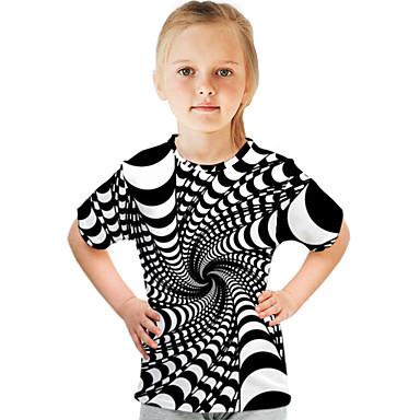 abordables Bébé & Enfants-Enfants Fille T-shirt Tee-shirts Bloc de Couleur 3D Imprimé Manches Courtes basique Chic de Rue Blanche