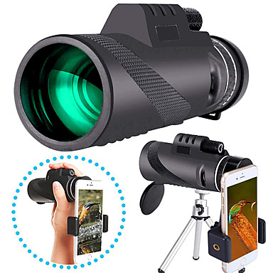 cheap Binoculars, Monoculars & Telescopes-40 X 60 mm Monocular with Phone Clip and Tripod Waterproof Portable Durable Lightweight 7 m Multi-coated BAK4 Camping / Hiking Hunting Fishing / with Tripod Mount / Bird watching
