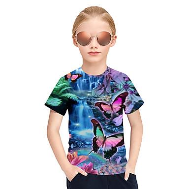 halpa Tyttöjen yläosat-Lapset Tyttöjen Aktiivinen Punk & Goottityyli 3D Skottiruutukuvio Eläin Lyhythihainen T-paita Uima-allas