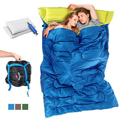 cheap Sleeping Bags & Camp Bedding-Naturehike Double Sleeping Bag with 2 Pillows Outdoor Camping Double Wide Bag 10 °C T / C Cotton Portable Lightweight Windproof Breathable Warm Comfortable 210*145 cm Spring Summer Fall