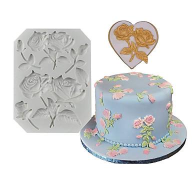 cheap Baking & Pastry Tools-1pcs Rose Fondant Silicone Cake Decoration Mold DIY