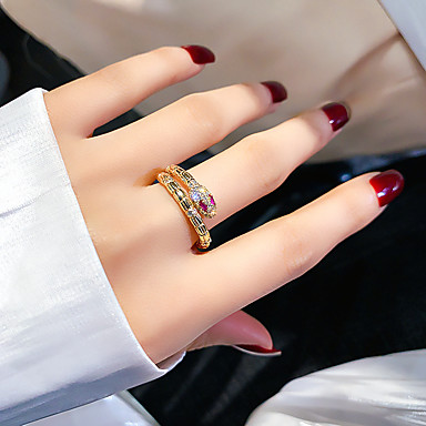 cheap Rings-Women's Men Women Ring Open Cuff Ring Adjustable Ring AAA Cubic Zirconia 1pc Gold Zircon Copper Stylish European Trendy Gift Formal Jewelry Vintage Style Snake